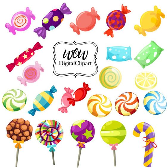 Rainbow Candy Clipart, Sweet Shop Candy Clip Art, Lollipops.