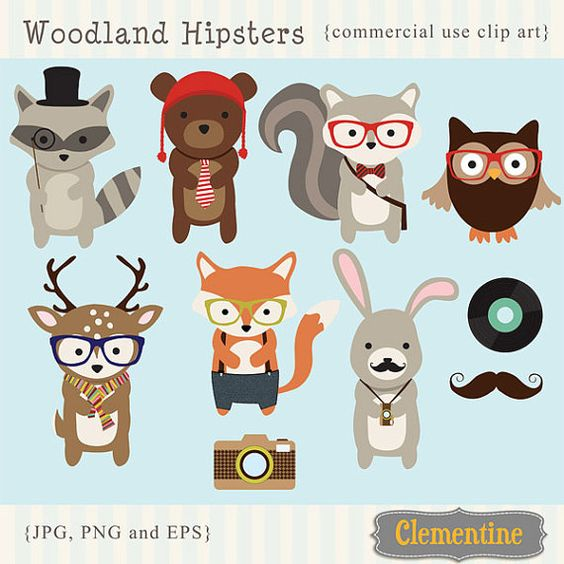 Woodland Hipster clip art images, fox clipart, fox vector, royalty.