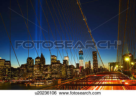 Stock Images of World Trade Center Memorial, Tribute in Light.
