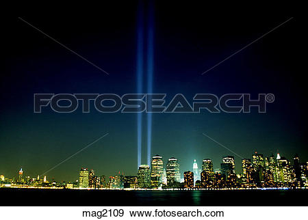 Stock Photograph of Tribute in Lights night World Trade Center.