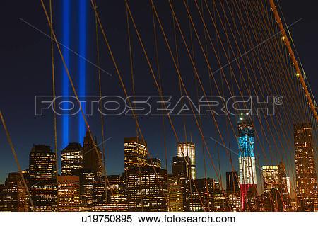 Stock Image of World Trade Center Memorial, Tribute in Light.