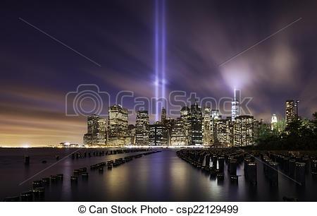 Stock Photographs of Manhattan skyline, tribute lights 9.