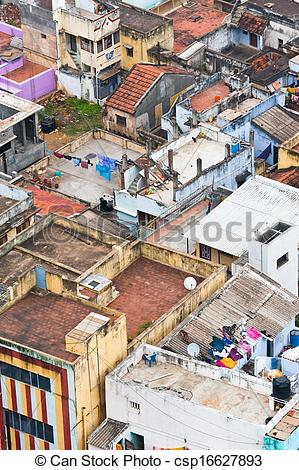 Stock Photographs of Thanjavur (Trichy) city. Cityscape of crowded.
