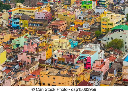 Stock Images of Colorful homes Indian city Trichy, Tamil Nadu.