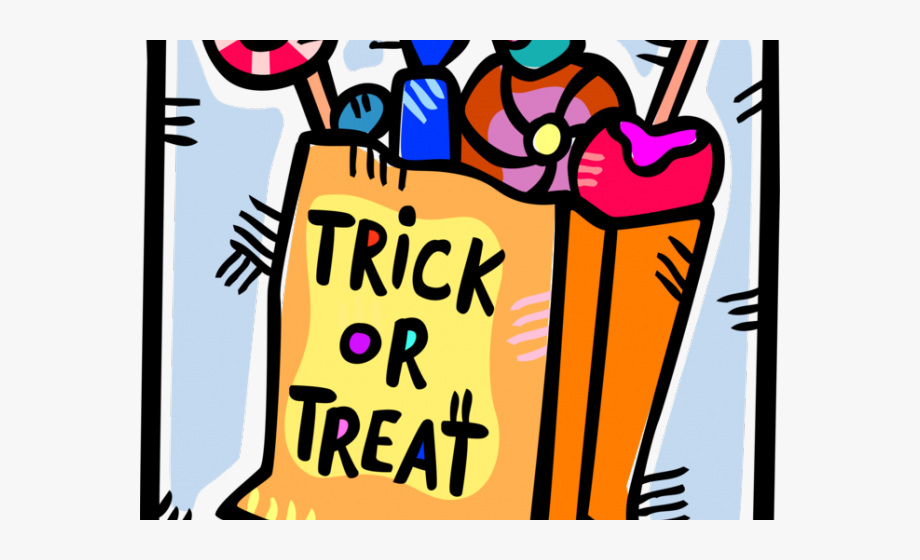 Trick Or Treat Clipart Halloween Candy Bag.