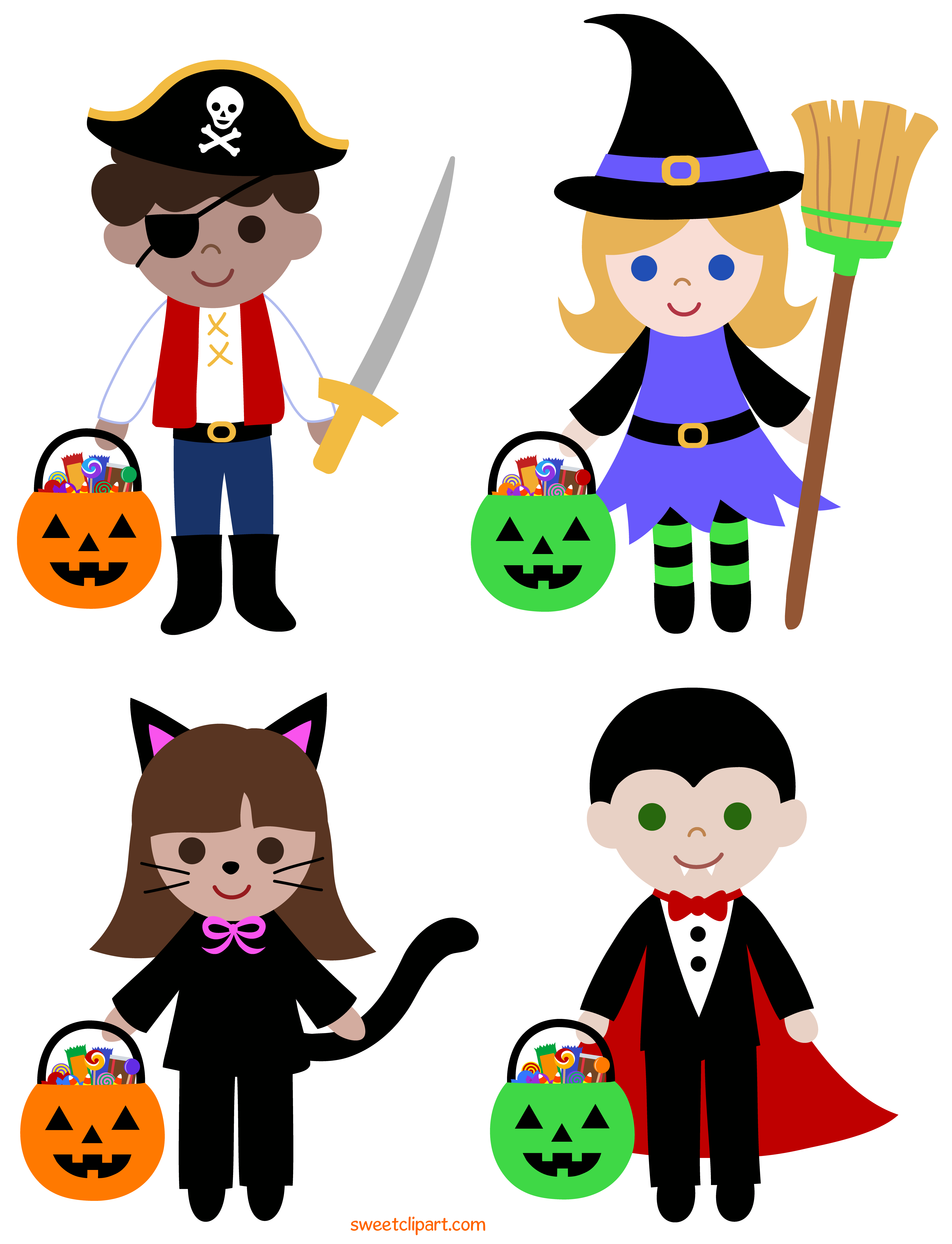 Trick or Treat Halloween Kids Clipart.