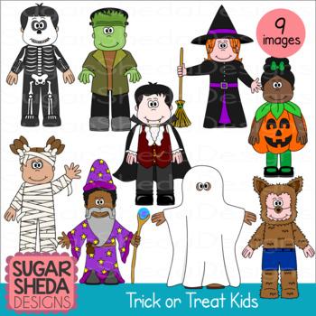 Trick or Treat Kids Halloween Clipart.