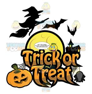 Trick Or Treat Halloween Sign.