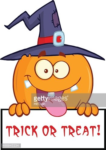 Witch Pumpkin Over A Trick OR Treat Sign Stock Vector.