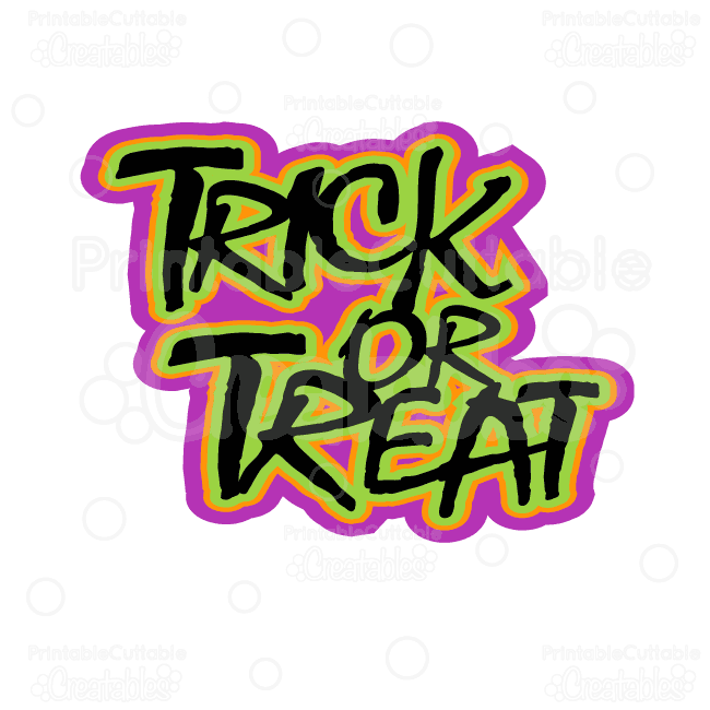 Trick or Treat Halloween Title Free SVG Cut Files & Clipart.