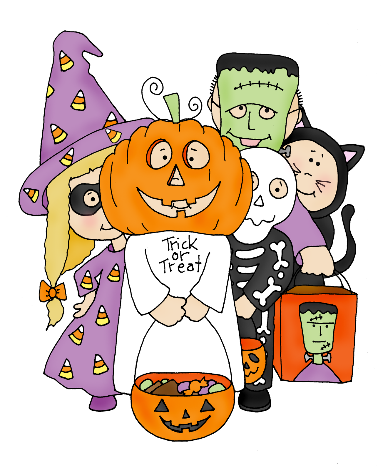 Trick or Treaters (Free Dearie Dolls Digi Stamps.