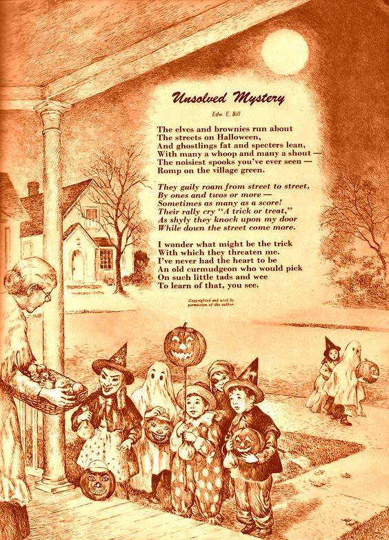 vintage Halloween trick or treating poem in 2019.