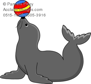 Clip Art Image of a Seal Doing a Trick With a Ball.
