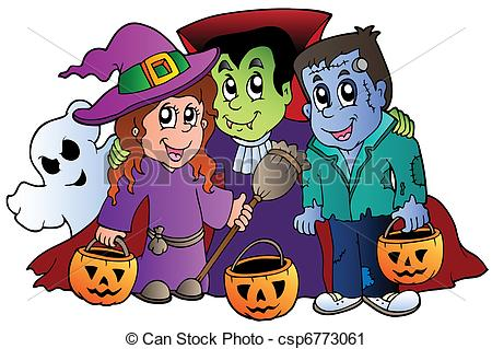 Vector Clip Art of Halloween trick or treat characters.