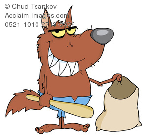 Clipart Image of A Cartoon Werewolf With a Trick Or Treat Bag.