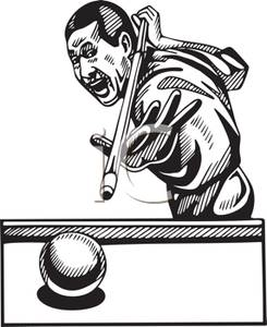 Pool Player Lining Up A Trick Shot Royalty Free Clipart Picture.