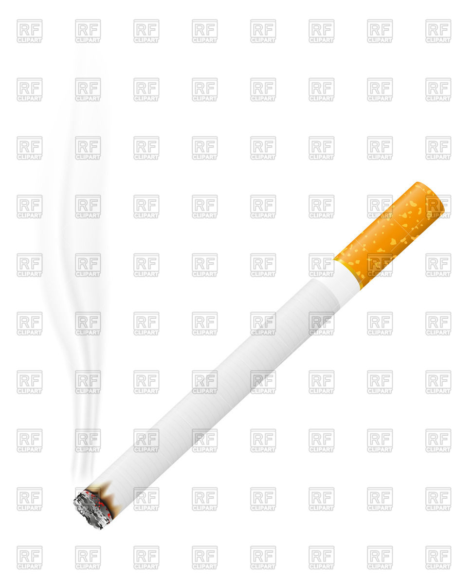 Burning cigarette with trickle of smoke Vector Image #40699.