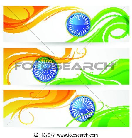 Clip Art of Tricolor India banner k21137977.