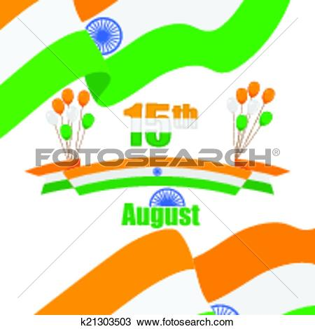 Clipart of Indian Tricolor balloon and flag of India k21303503.