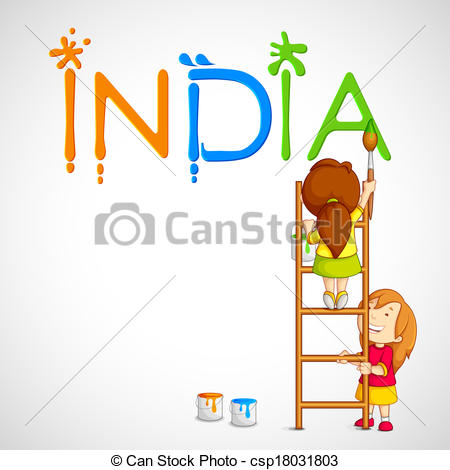 Vector Clipart of Kids Painting Tricolor India.