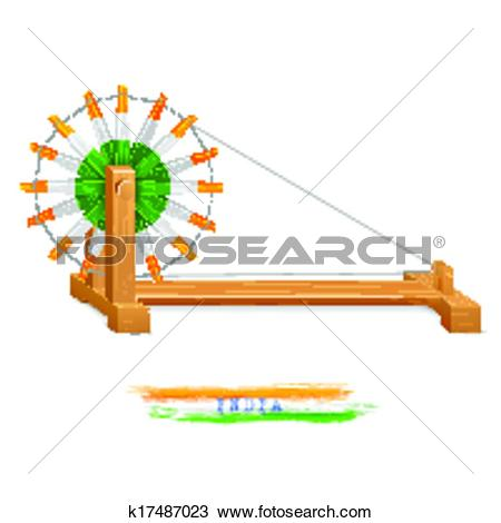 Clipart of India background with tricolor balloon and India Gate.