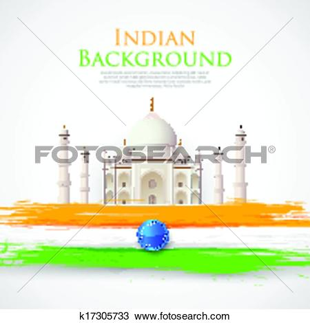 Clipart of Taj Mahal with Tricolor India Flag k17305733.