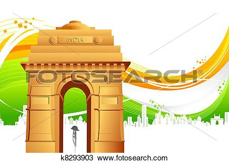 Clipart of India Gate on Tricolor Background k8293903.