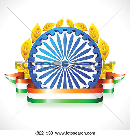 Clipart of Tricolor Ribbon with Ashok Wheel k8221533.