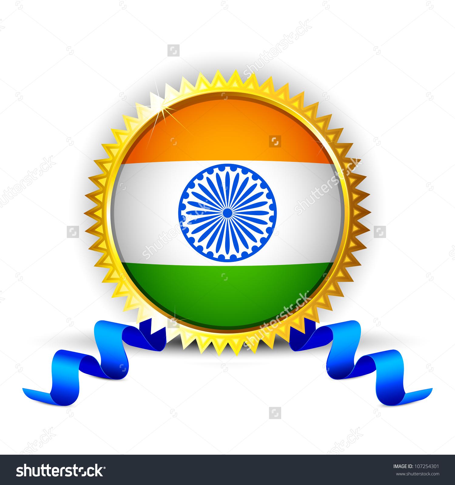 Illustration India Tricolor Flag Badge Golden Stock Vector.