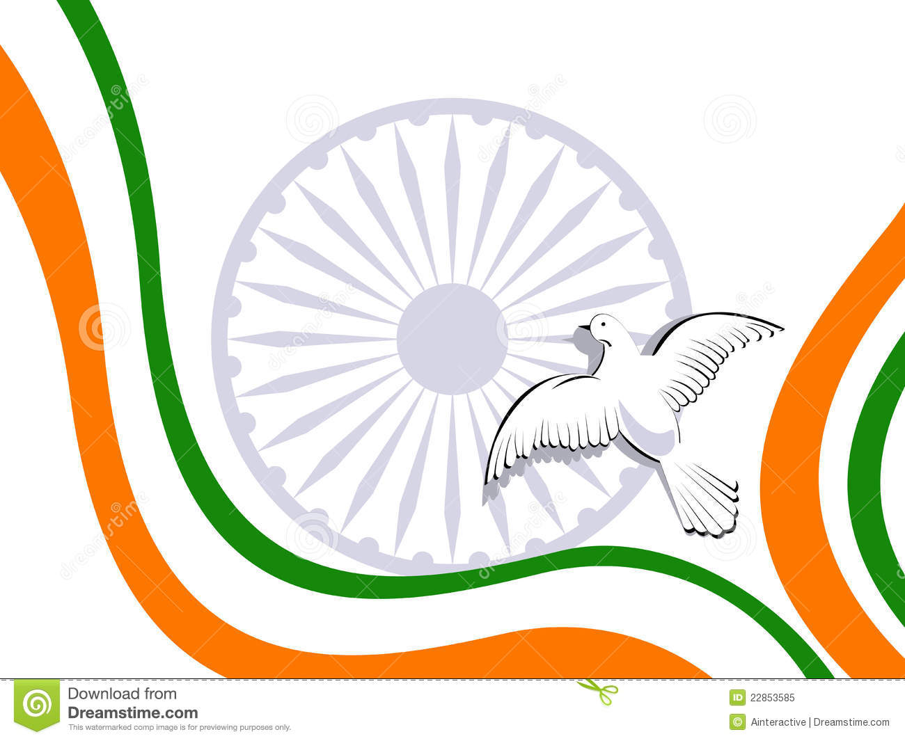 Indian Tricolor Flag With Flying Pigeons. Royalty Free Stock Photo.