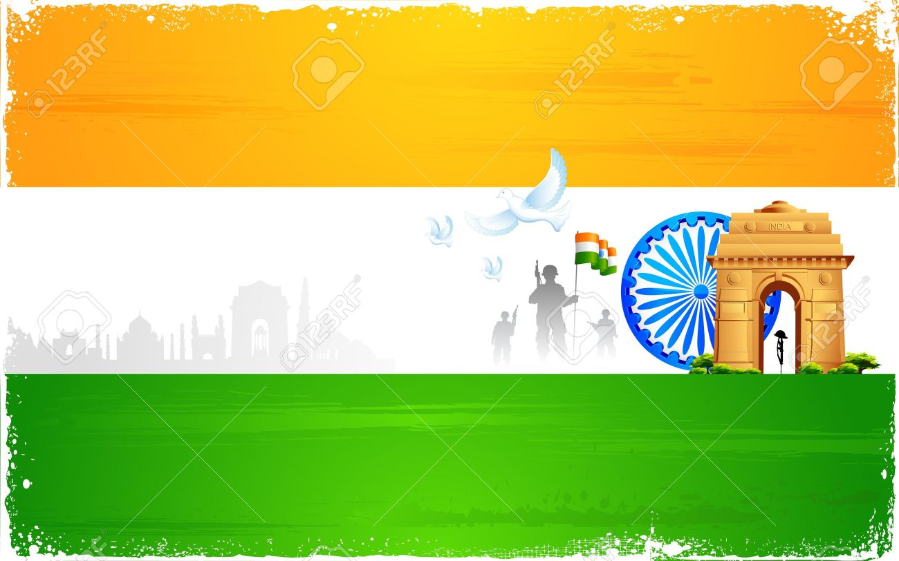 Illustration Of Ashok Wheel And India Gate On Tricolor Flag.