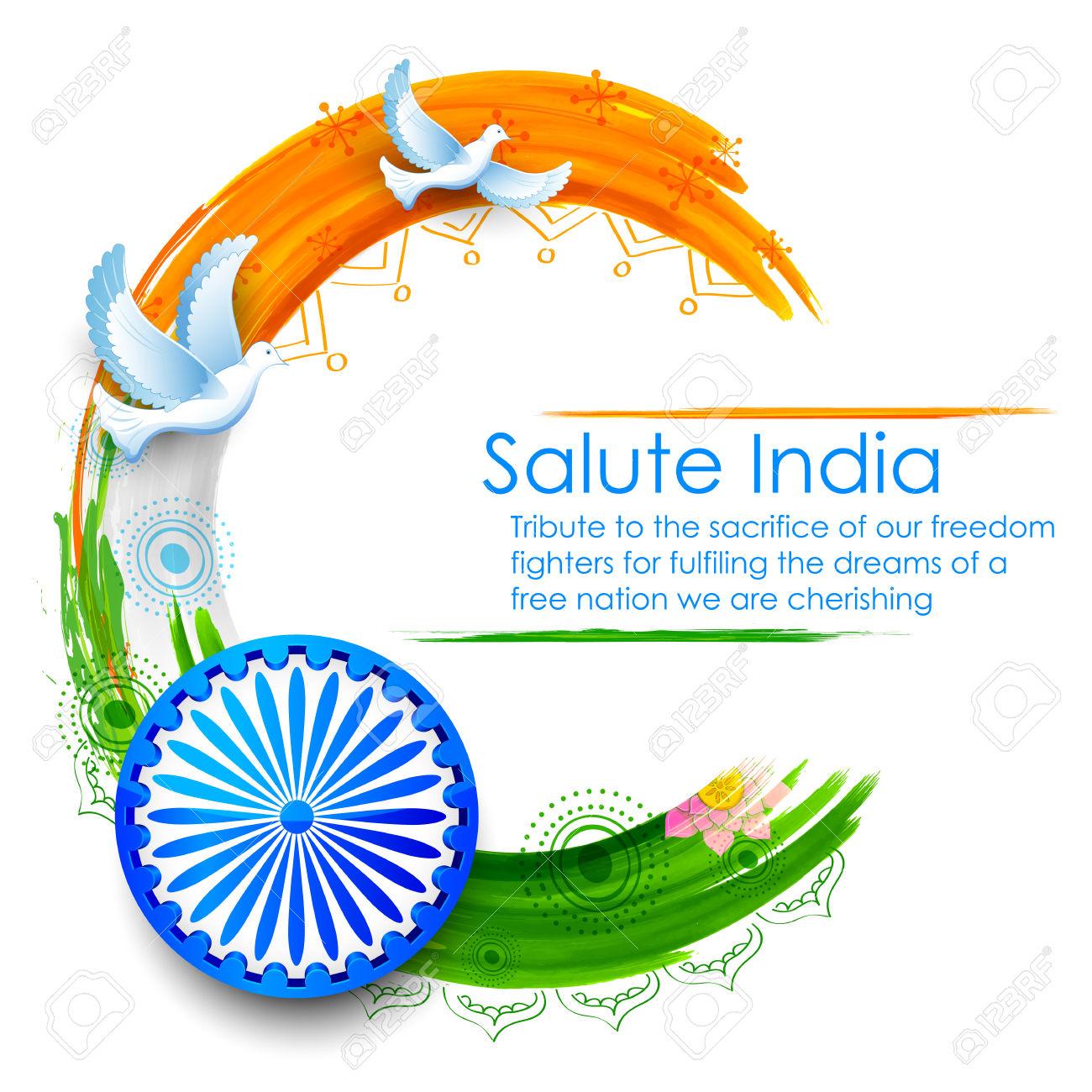 Illustration Of Dove Flying On Indian Tricolor Flag Background.