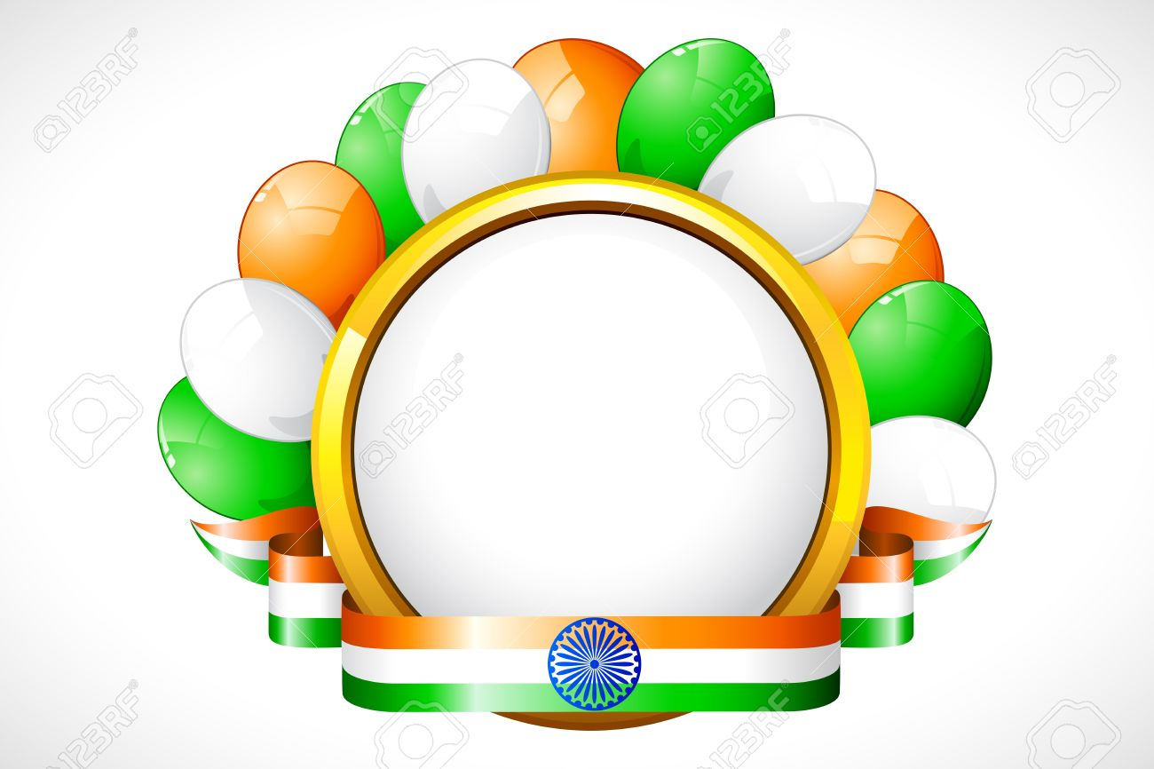 Illustration Of Tricolor Balloon With Indian Flag Color Ribbon.