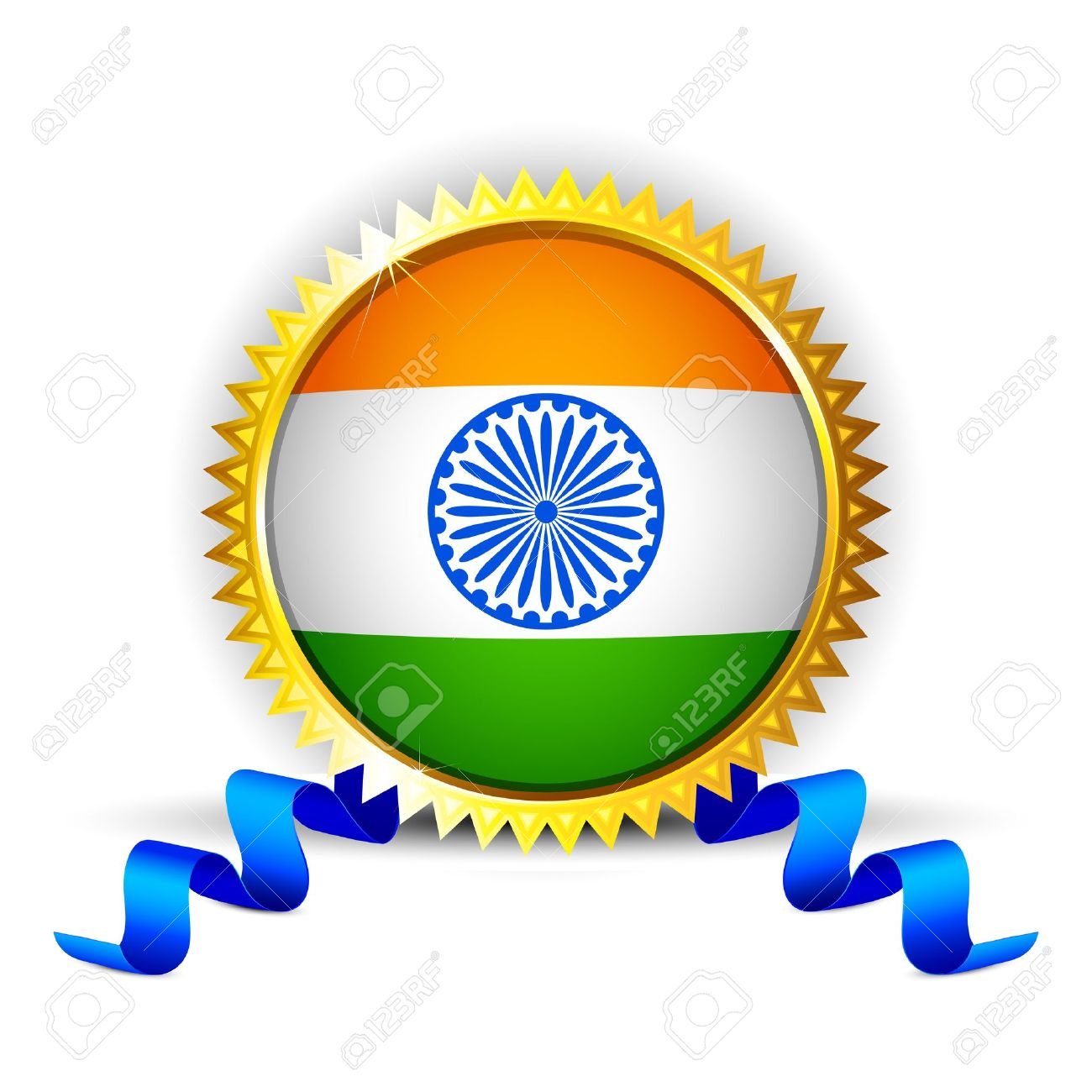 Illustration Of India Tricolor Flag In Badge With Golden Frame.