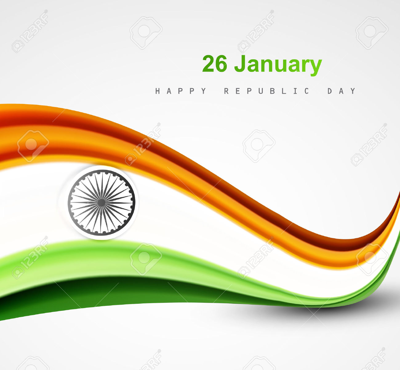 Stylish Indian Flag Republic Day Beautiful Tricolor Wave Design.