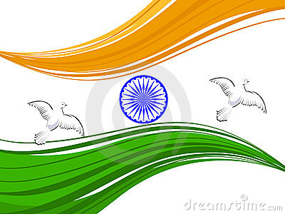 Dove Flying With Indian Tricolor Flag Royalty Free Stock Photo.