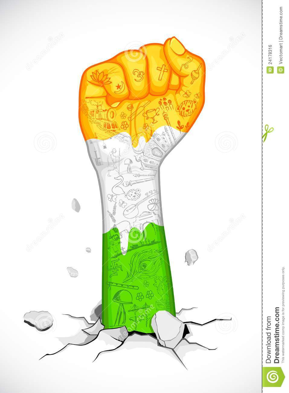 Fist In Indian Tricolor Royalty Free Stock Image.