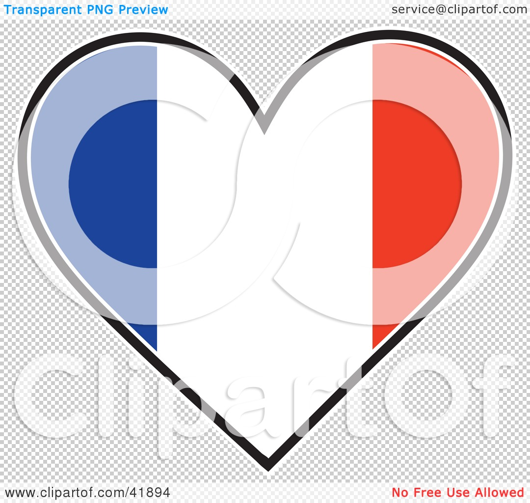 Clipart Illustration of a Heart Shaped France Tricolour Flag by.