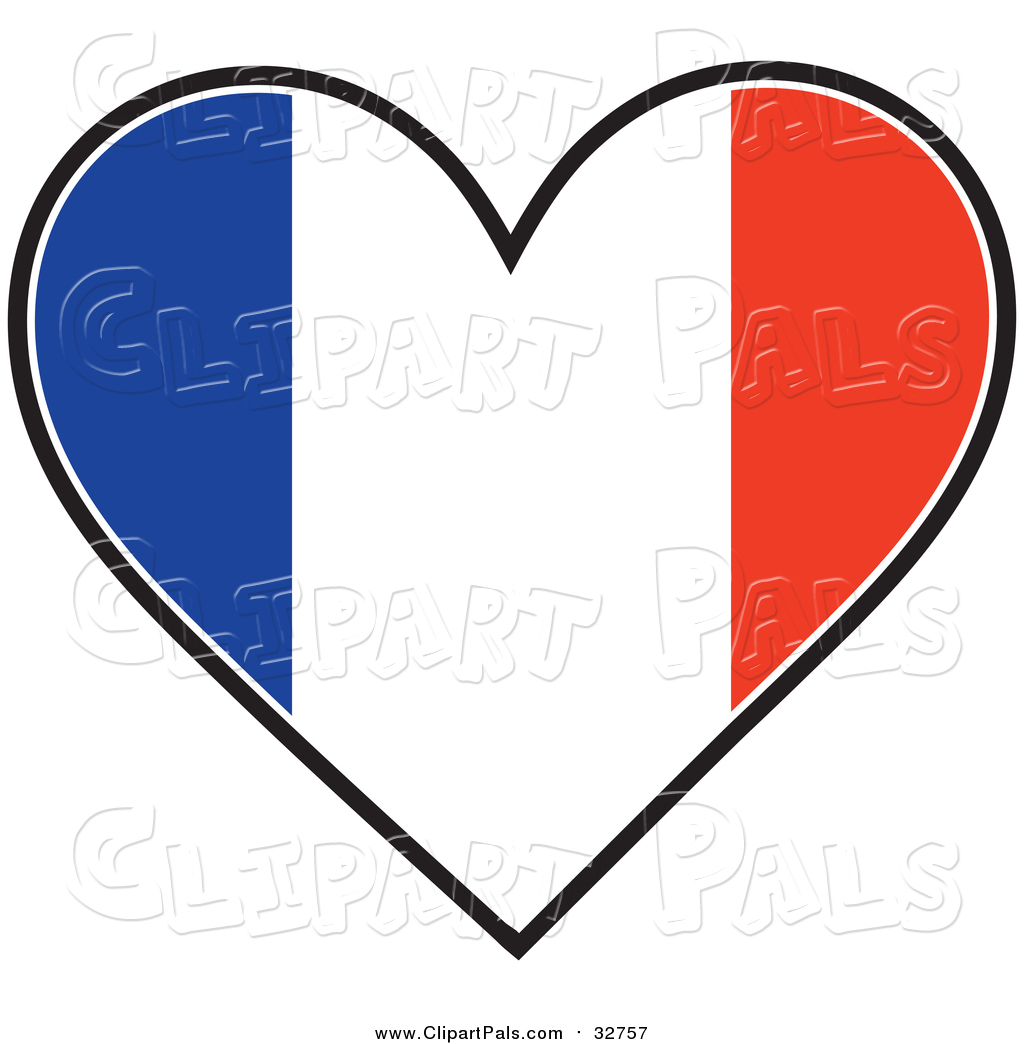 Pal Clipart of a Heart Shaped French Tricolour Flag by Maria Bell.