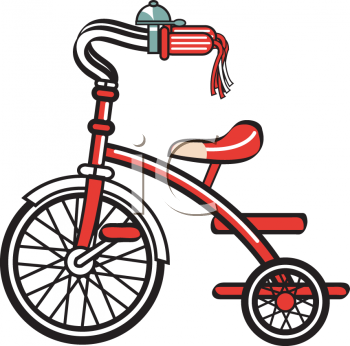 Kid's Red Tricycle Clip Art.