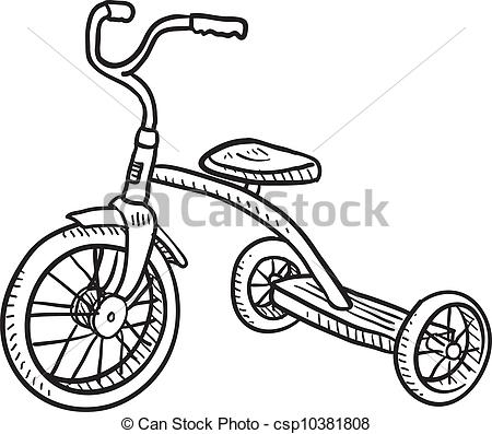Vector Clipart of Kid's tricycle sketch.