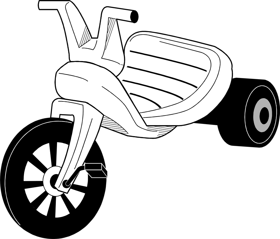 Tricycle black and white clipart » Clipart Station.