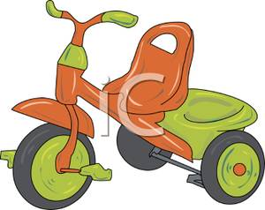 Orange and Green Tricycle Clip Art Image.