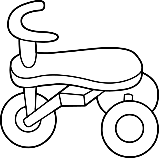 Toddler Tricycle Line Art.