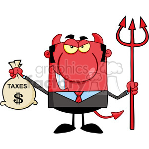 Royalty Free Smiling Devil With A Trident And Holding Taxes Bag clipart.  Royalty.