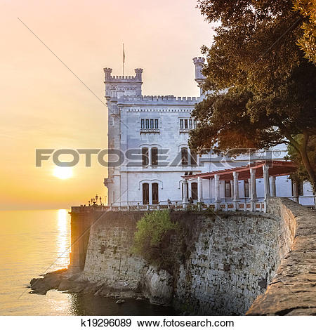 Stock Photograph of Miramare Castle, Trieste, Italy, Europe.