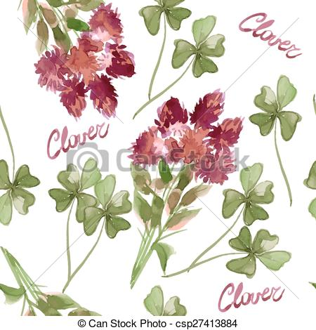 Vector of Floral Pattern Clover Flowers (Trifolium Pratense) and.