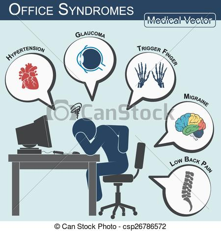 Vectors Illustration of Office Syndrome ( Flat design.