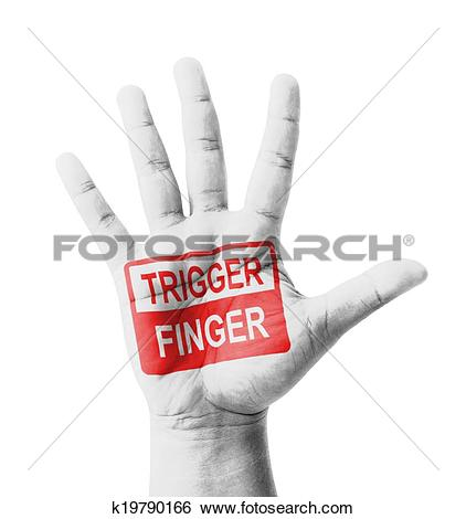 Stock Images of Open hand raised, Trigger Finger sign painted.