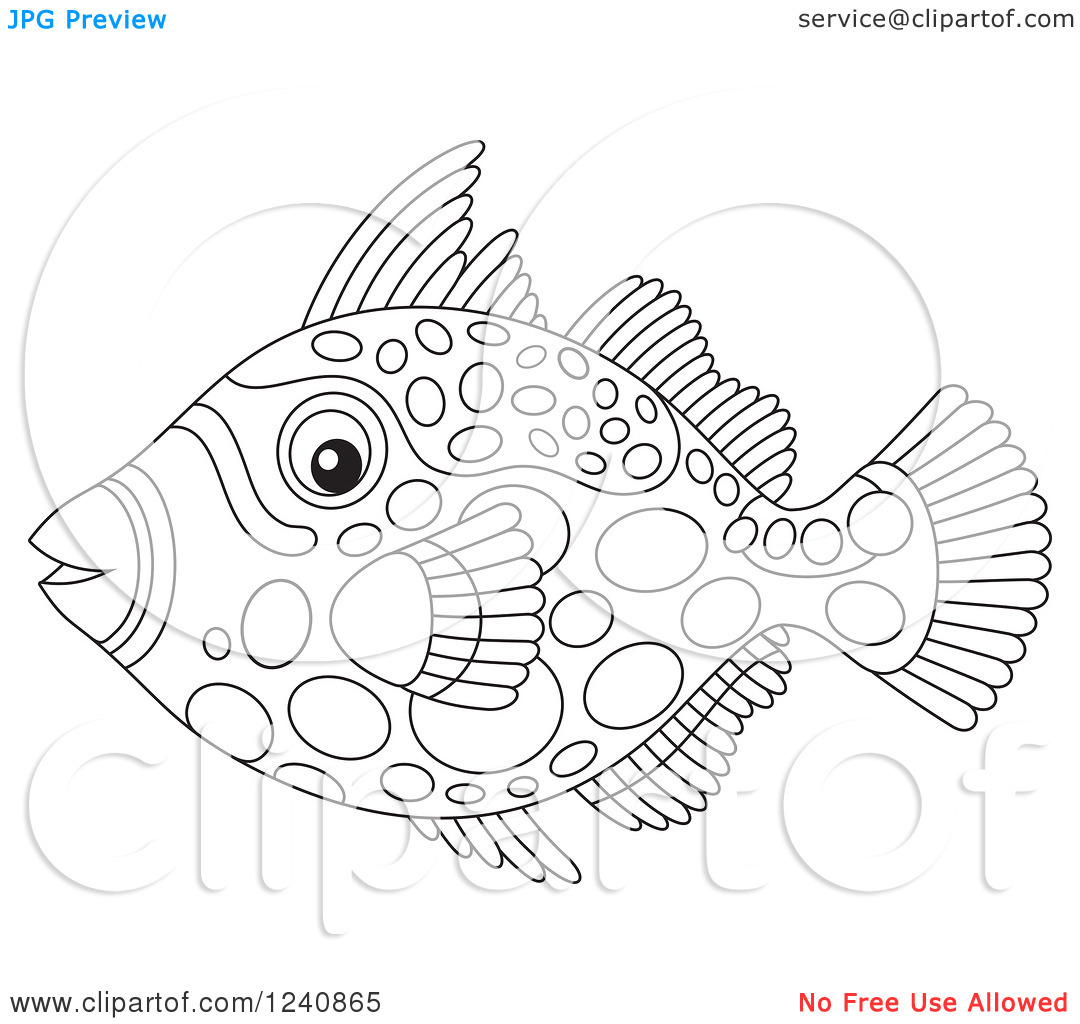 Clipart of a Black and White Clown Triggerfish.